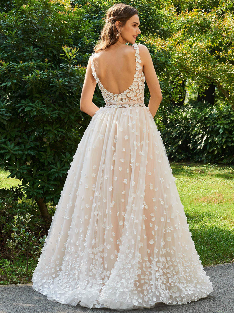 A-Line Floor-Length Scoop Sleeveless Hall Wedding Dress