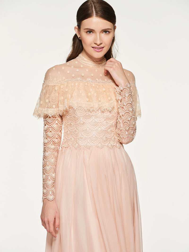 Button A-Line High Neck Long Sleeves Wedding Party Dress