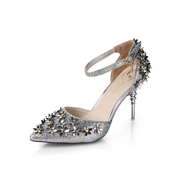 Stiletto Heel Line-Style Buckle Appliques Pointed Toe Banquet Sweet Thin Shoes