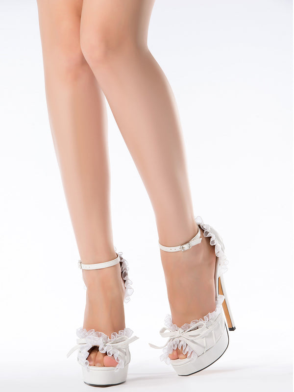 Peep Toe Stiletto Heel Bow Line-Style Buckle 12cm Plain Thin Shoes