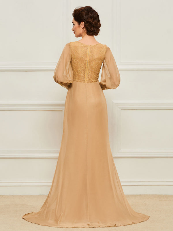 Appliques Long Sleeves Sweep/Brush V-Neck Wedding Party Dress