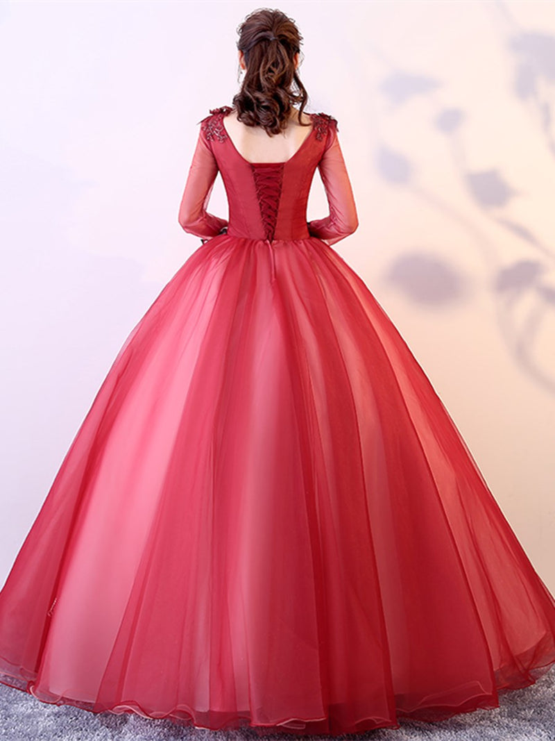 Floor-Length Long Sleeves Ball Gown Appliques Quinceanera Dress
