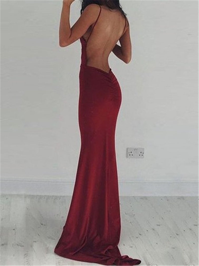 Floor-Length Spaghetti Straps Trumpet/Mermaid Sleeveless Evening Dress