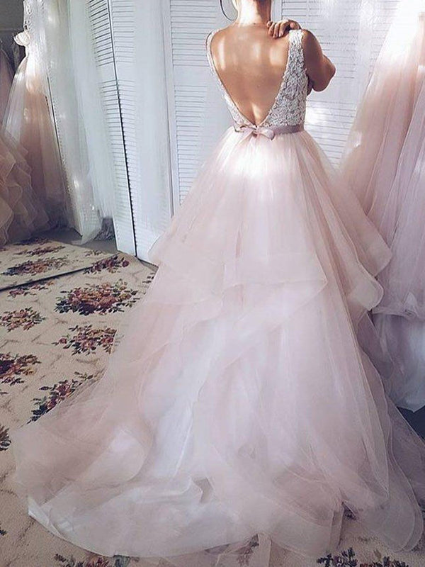 Sweep/Brush Sleeveless Ball Gown V-Neck Garden/Outdoor Wedding Dress
