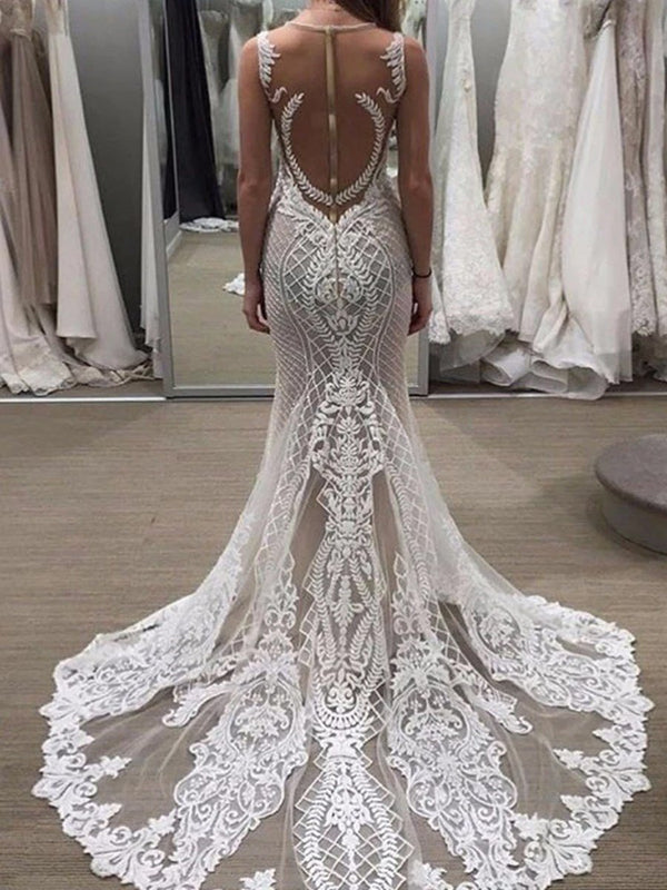 Floor-Length Jewel Appliques Trumpet/Mermaid Garden/Outdoor Wedding Dress