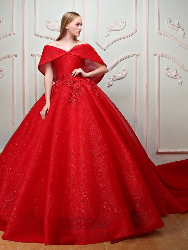 Floor-Length Chapel Off-The-Shoulder Beading Quinceanera Dress
