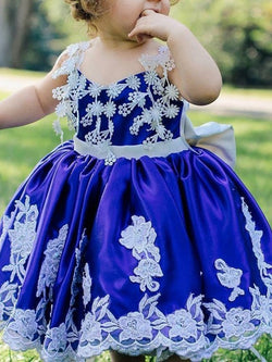 Tea-Length Ball Gown Spaghetti Straps Sleeveless Flower Girl Dress