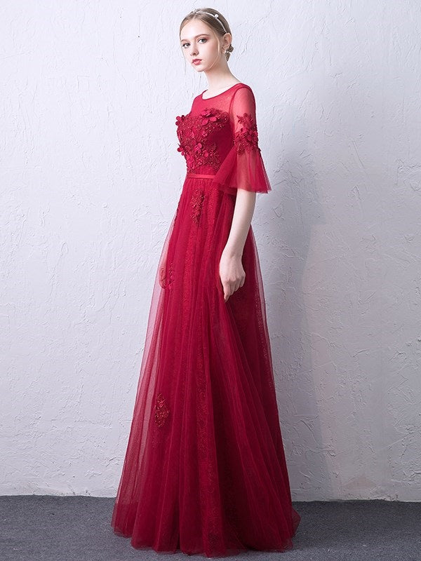 A-Line Half Sleeves Floor-Length Bateau Evening Dress
