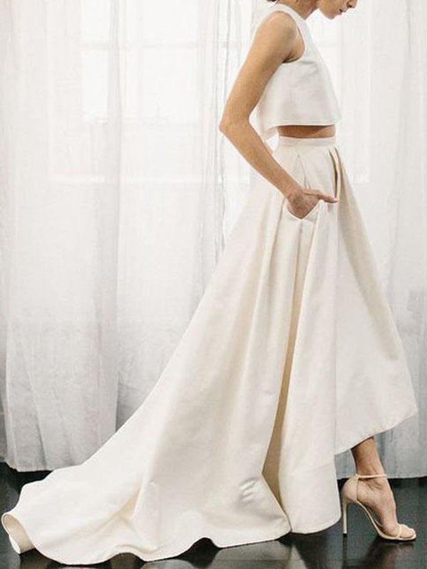 Court Asymmetry Sleeveless A-Line Garden/Outdoor Wedding Dress