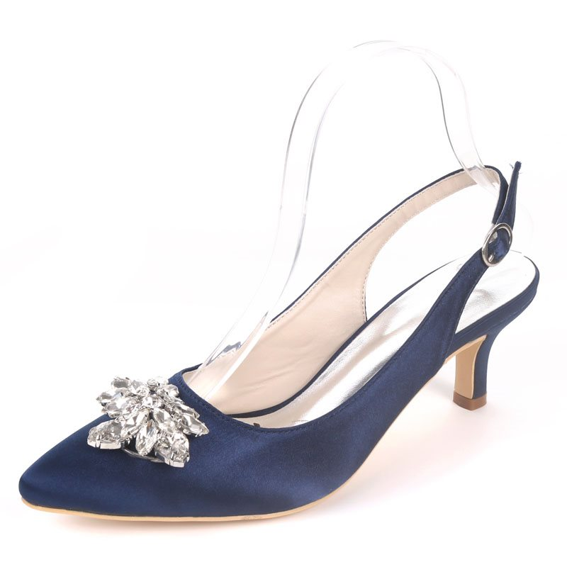 Buckle Stiletto Heel Pointed Toe Slingback Strap Plain Wedding Sandals