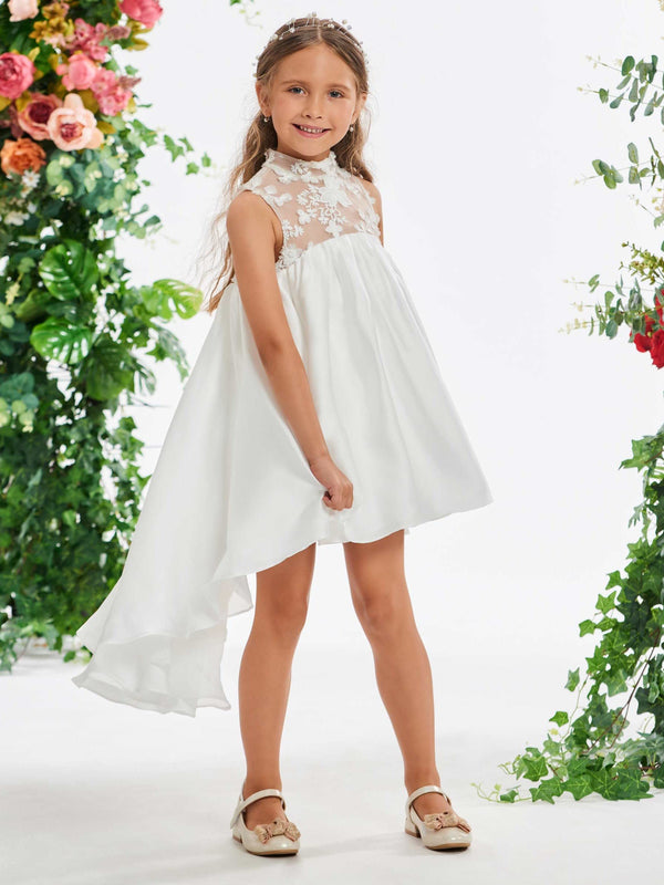 Spring A-Line Appliques High Neck Flower Girl Dress