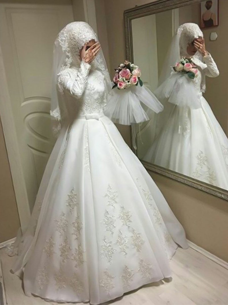 Appliques Ball Gown Floor-Length Long Sleeves Church Wedding Dress