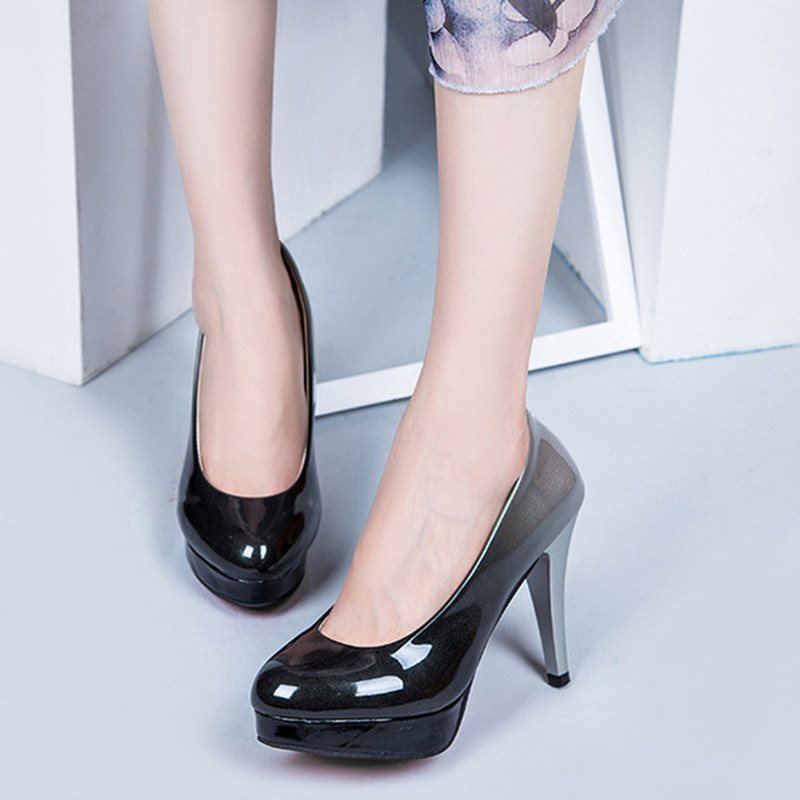 Stiletto Heel Round Toe Slip-On Low-Cut Upper Banquet Thin Shoes