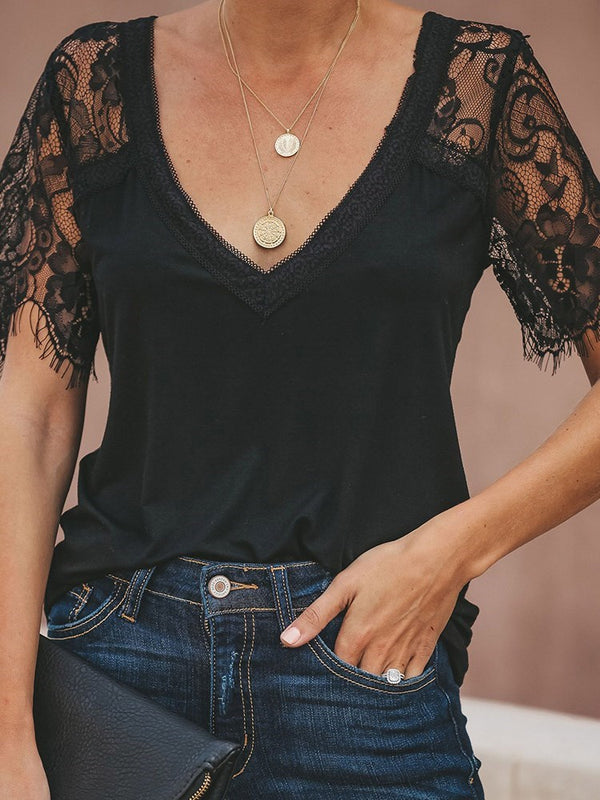Lace V-Neck Plain Standard Short Sleeve Blouse