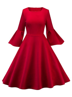 Three-Quarter Sleeve Knee-Length Square Neck Expansion Plain Dresses