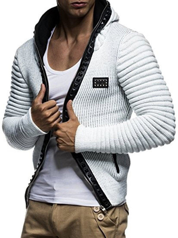 Hooded Plain Zipper Winter Jacket