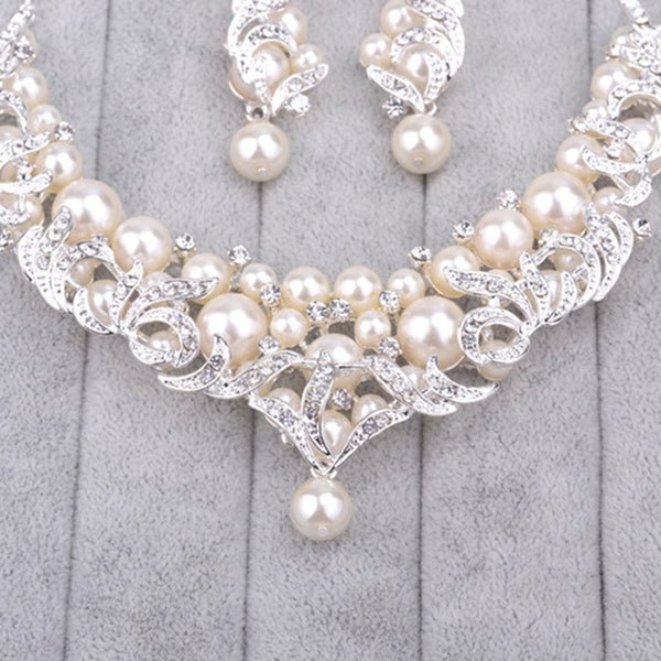 Pearl Inlaid Korean Floral Jewelry Sets (Wedding)