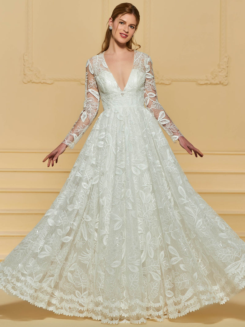 Floor-Length Long Sleeves Lace A-Line Garden/Outdoor Wedding Dress