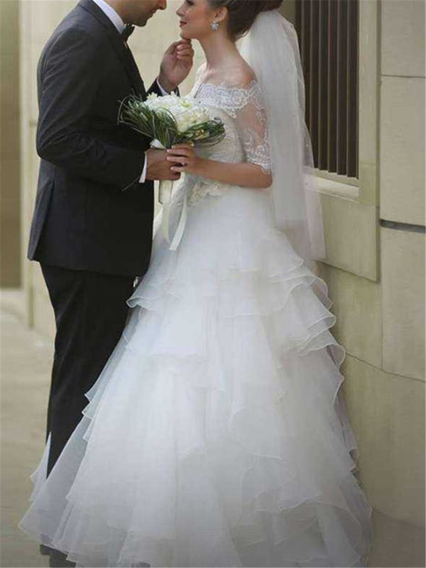 Half Sleeves Floor-Length A-Line Off-The-Shoulder Garden/Outdoor Wedding Dress