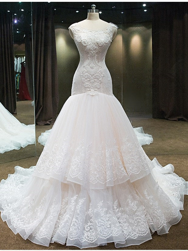 Floor-Length Beading Chapel Scoop Church Wedding Dress