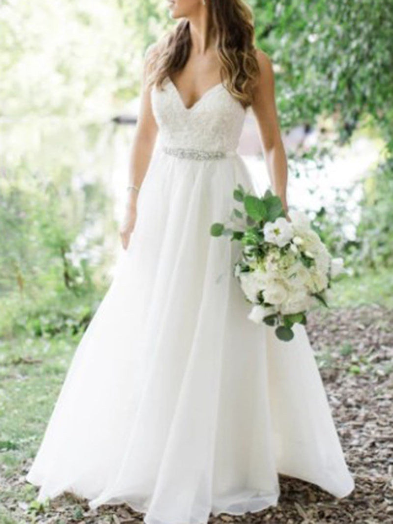 Beading Sleeveless Sweep/Brush Spaghetti Straps Garden/Outdoor Wedding Dress