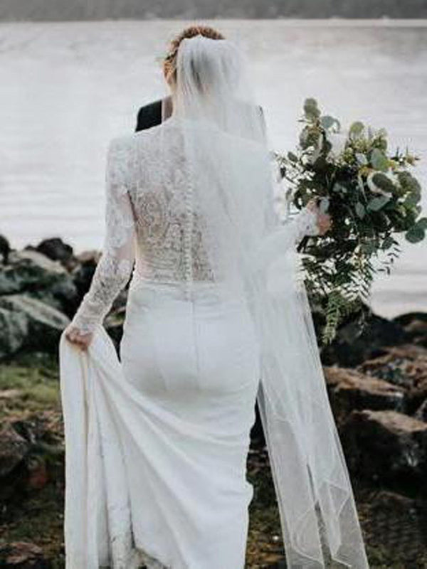 High Neck Court Trumpet/Mermaid Long Sleeves Garden/Outdoor Wedding Dress