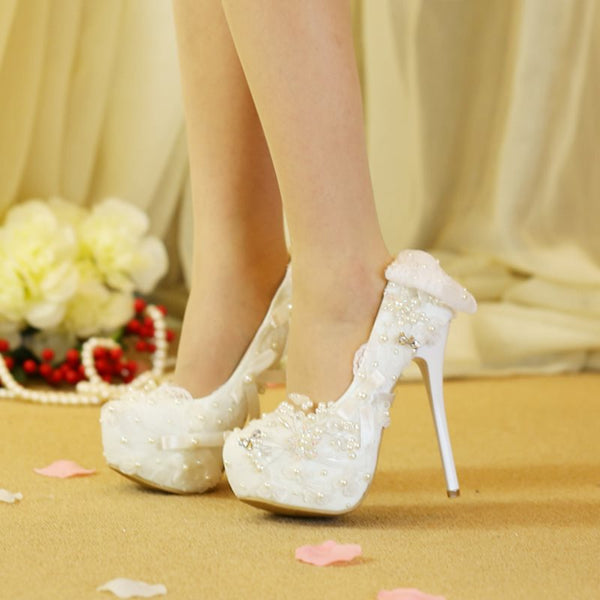 Round Toe Bow Stiletto Heel Slip-On Low-Cut Upper Plain Thin Shoes