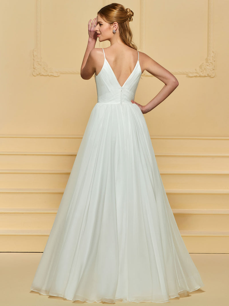 Spaghetti Straps Ball Gown Floor-Length Sleeveless Garden/Outdoor Wedding Dress