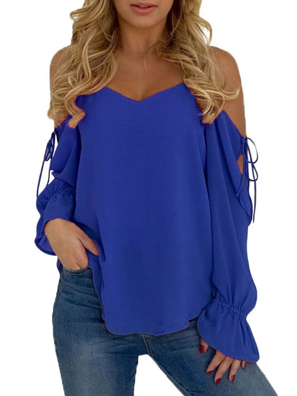 Plain Flare Sleeve Asymmetric Long Sleeve Standard Blouse