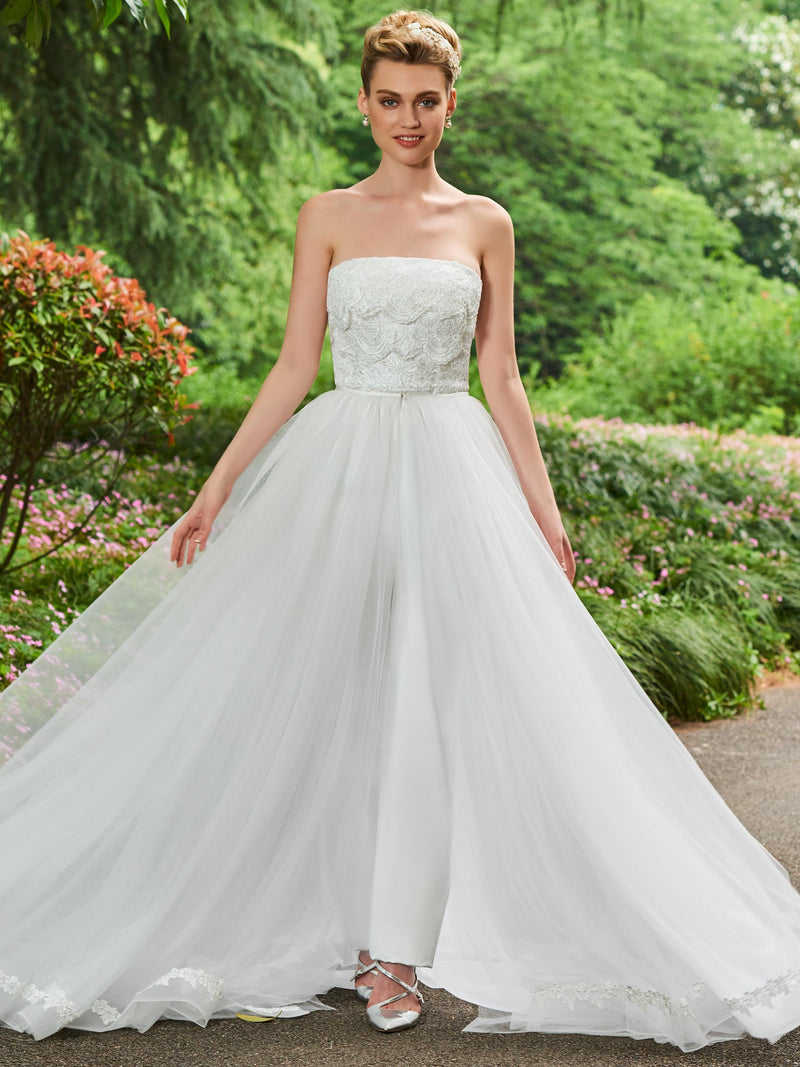 Watteau Floor-Length Strapless Split-Front Church Wedding Dress