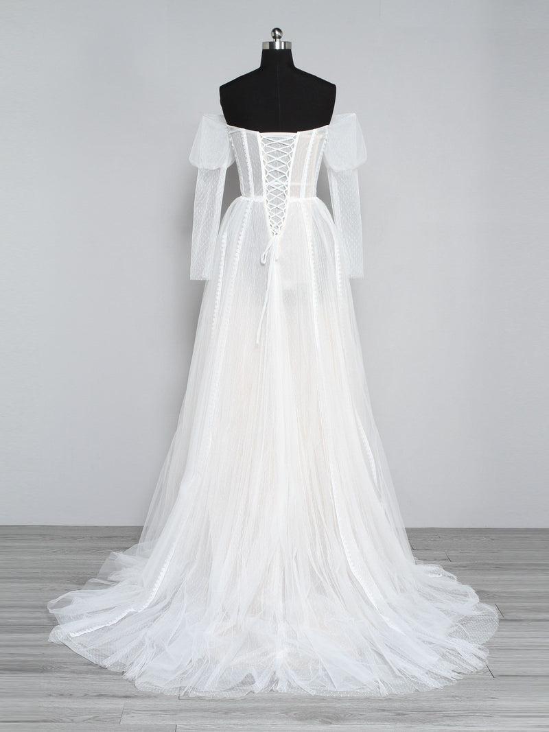 Floor-Length Strapless Long Sleeves Embroidery Hall Wedding Dress