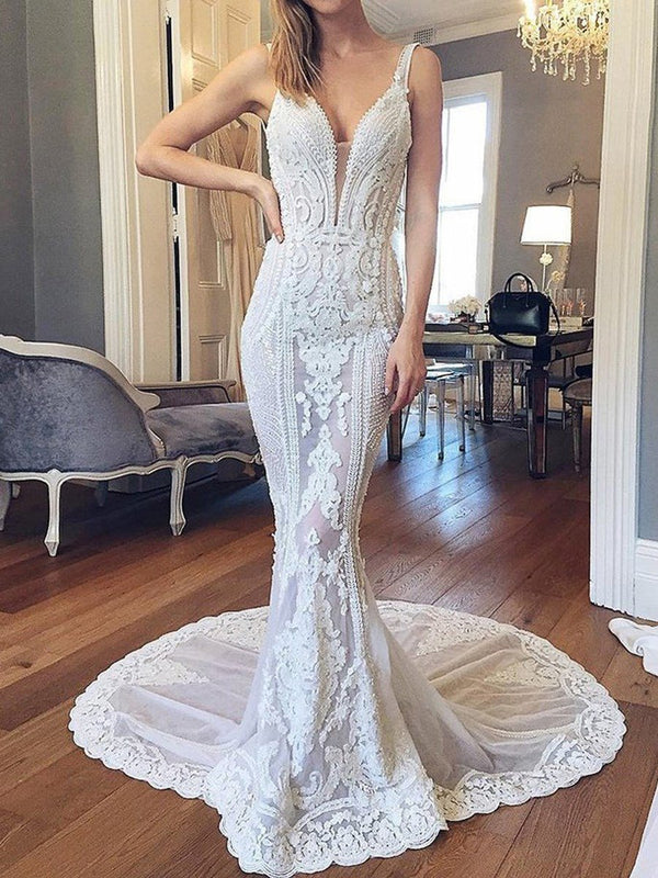 Straps Trumpet/Mermaid Floor-Length Appliques Garden/Outdoor Wedding Dress