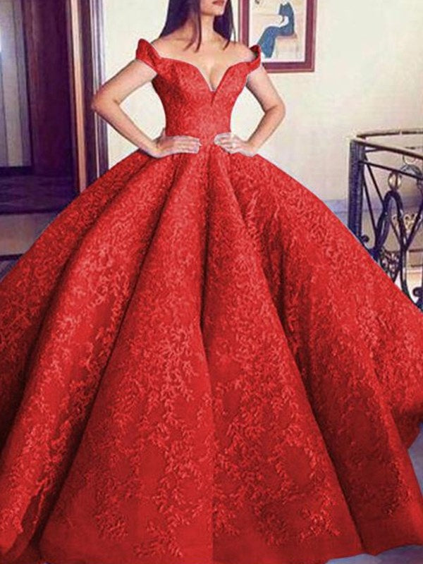 Floor-Length Sleeveless Ball Gown Off-The-Shoulder Prom Dress