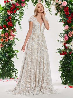 Sweep/Brush V-Neck Appliques Floor-Length Garden/Outdoor Wedding Dress