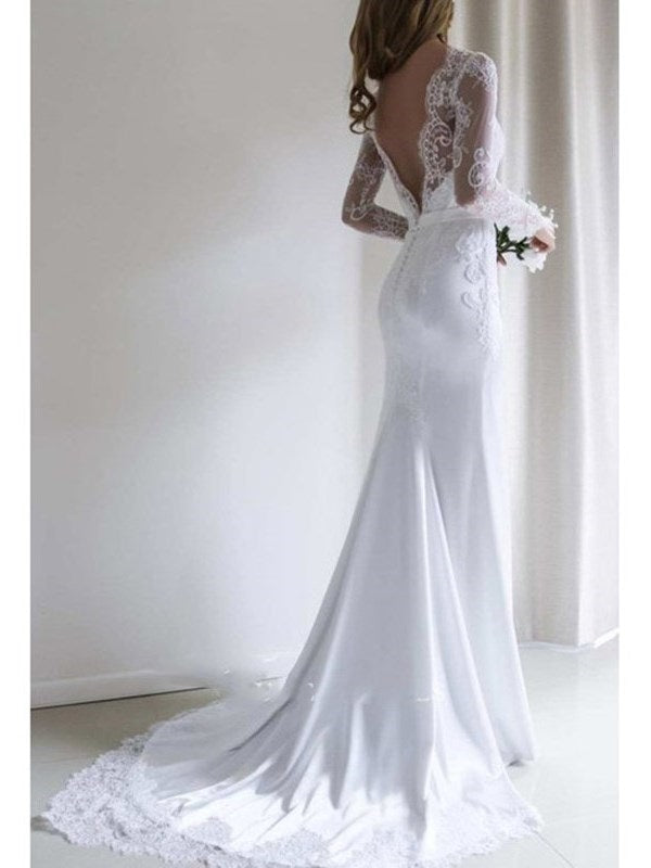 Long Sleeves Trumpet/Mermaid Bateau Appliques Garden/Outdoor Wedding Dress