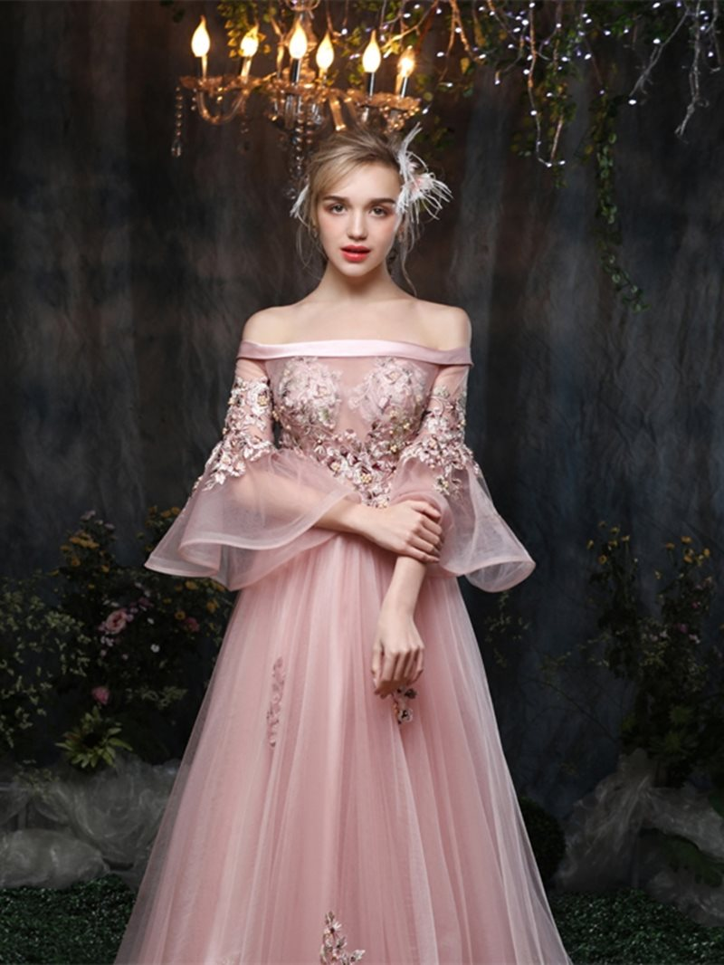 Floor-Length Court Ball Gown Off-The-Shoulder Quinceanera Dress
