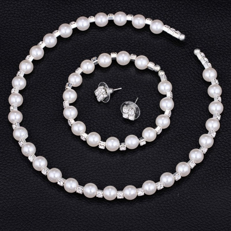 Pearl Inlaid Earrings Romantic Party Jewelry Sets