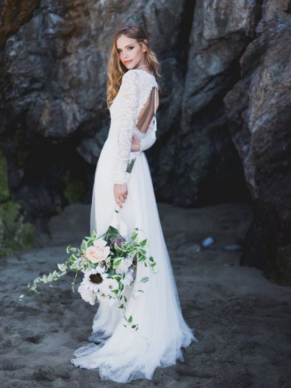 Long Sleeves Sweep/Brush A-Line V-Neck Garden/Outdoor Wedding Dress