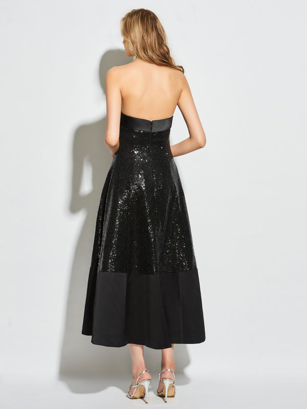 Strapless A-Line Sleeveless Sequins Cocktail Dress