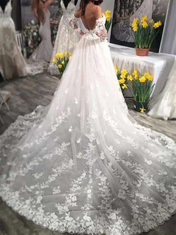 A-Line Appliques Chapel Sweetheart Hall Wedding Dress