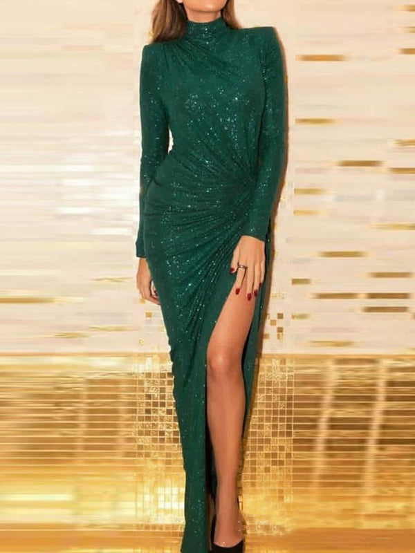 Sequins Long Sleeve Floor-Length Elegant Plain Dress