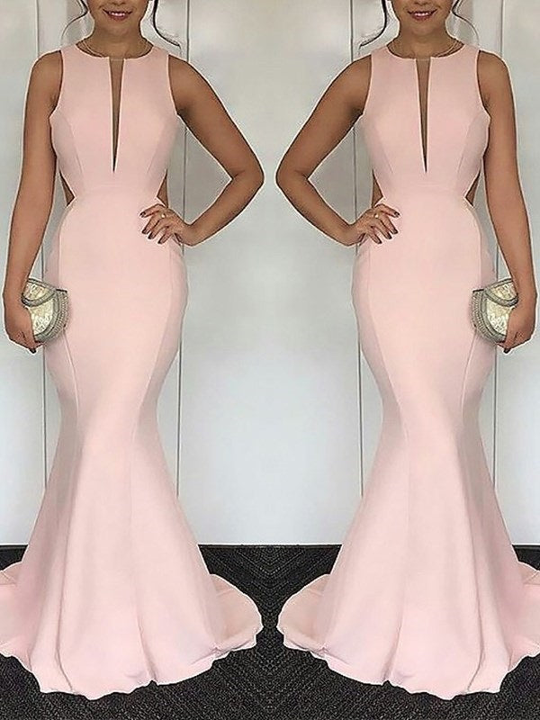 Sweep/Brush Scoop Floor-Length Trumpet/Mermaid Evening Dress