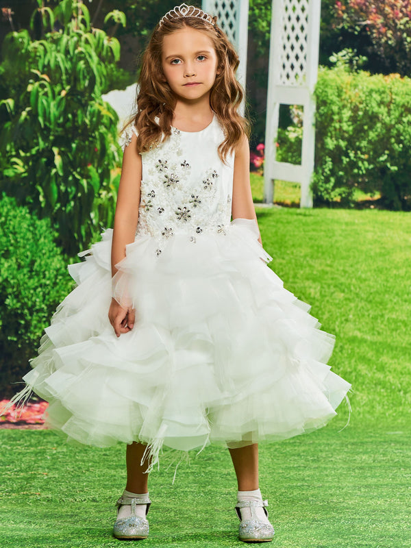 Cascading Ruffles Scoop Sleeveless Ball Gown Flower Girl Dress