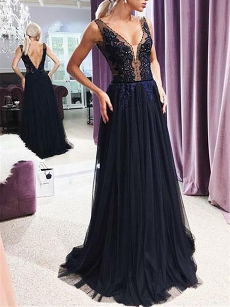Floor-Length V-Neck A-Line Appliques Evening Dress