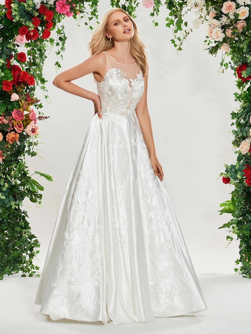 Sleeveless A-Line Floor-Length Lace Hall Wedding Dress