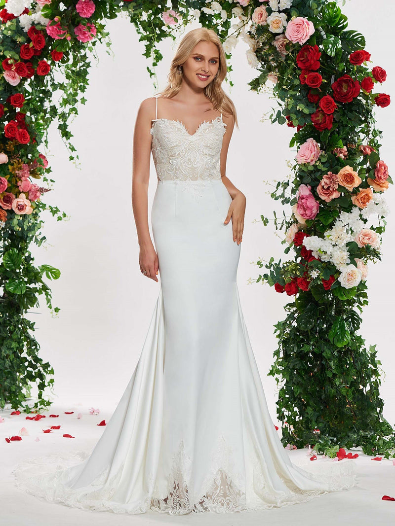 Spaghetti Straps Floor-Length Sleeveless Appliques Church Wedding Dress