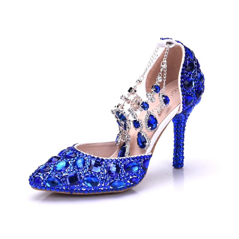 Buckle Pointed Toe Stiletto Heel Beads 9cm Low-Cut Upper Thin Shoes