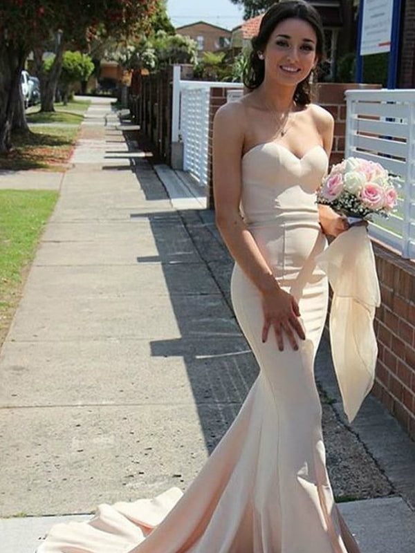 Trumpet/Mermaid Sweetheart Floor-Length Sleeveless Wedding Party Dress