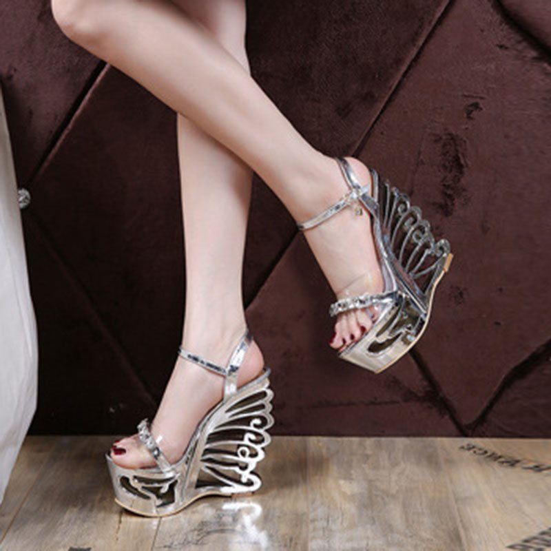 Slingback Strap Buckle Wedge Heel Open Toe Platform Plain Sandals