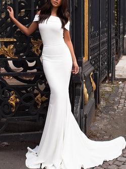 Short Sleeves Off-The-Shoulder Trumpet/Mermaid Court Evening Dress